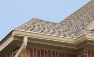 Close Up of a Seamless Gutter System on a Residential Roofline