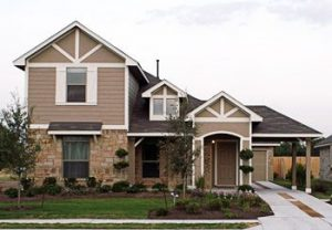 A Suburban Two-Story Home With Double-Textured Siding